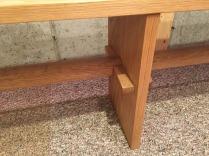 white oak bench joinery detail